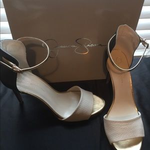 Beautiful cream& black heeled sandals